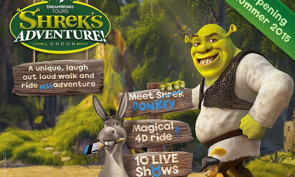 Shreks Adventure! London and Two Course Meal at P