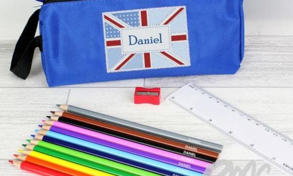 Blue Patchwork Union Jack Pencil Case with Persona