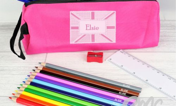 Pink Patchwork Union Jack Pencil Case with Persona