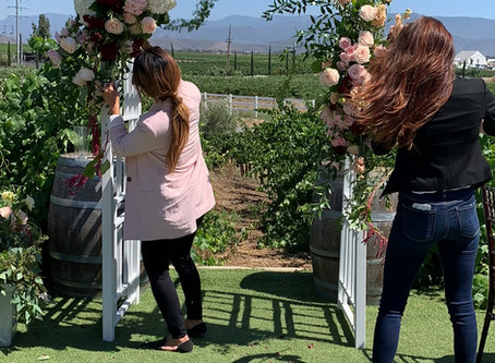 Blush and burgundy floral wedding at the winery in Temecula