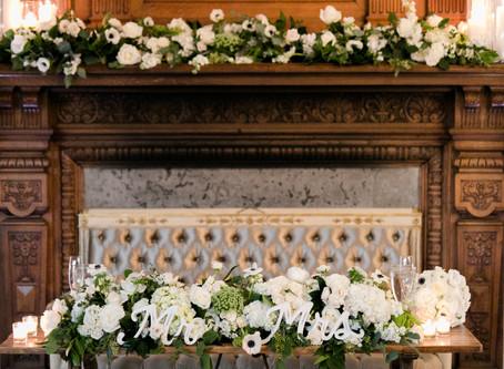 White and black elegant floral wedding theme