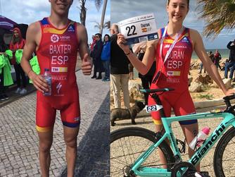 Los murcianos Sergio Baxter y Laura Durán participan en la Copa de Europa Junior de Triatlón