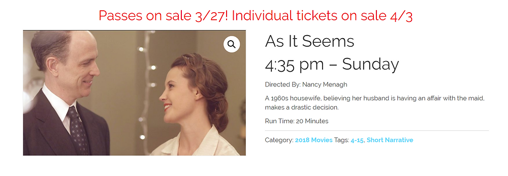 """As It Seems"" screening information for the Kansas City FilmFest."