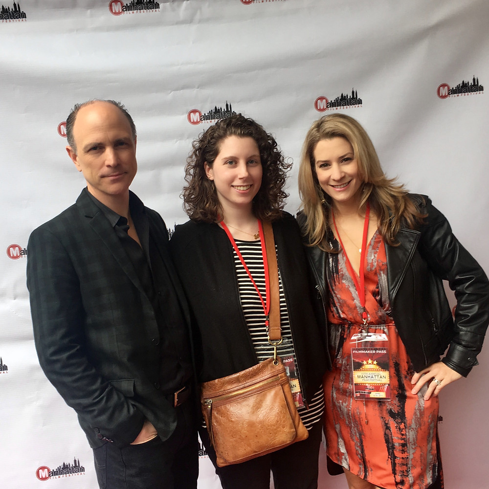 "Nancy Menagh, Drew Moore and Heather Brittain O'Scanlon representing ""As It Seems"" on the Manhattan Film Festival red carpet."
