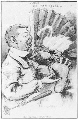 """Карикатура на Бабинского и его симптом. 1911г, журнал Chanteclair. Лебедь - игра слов на """"симптом веера"""" - signe de l'éventail. Лебедь по-французски cygne, что произносится похоже. Вверху надпись """"вот мой лебедь""""  — т.е. """"вот мой знак"""""""