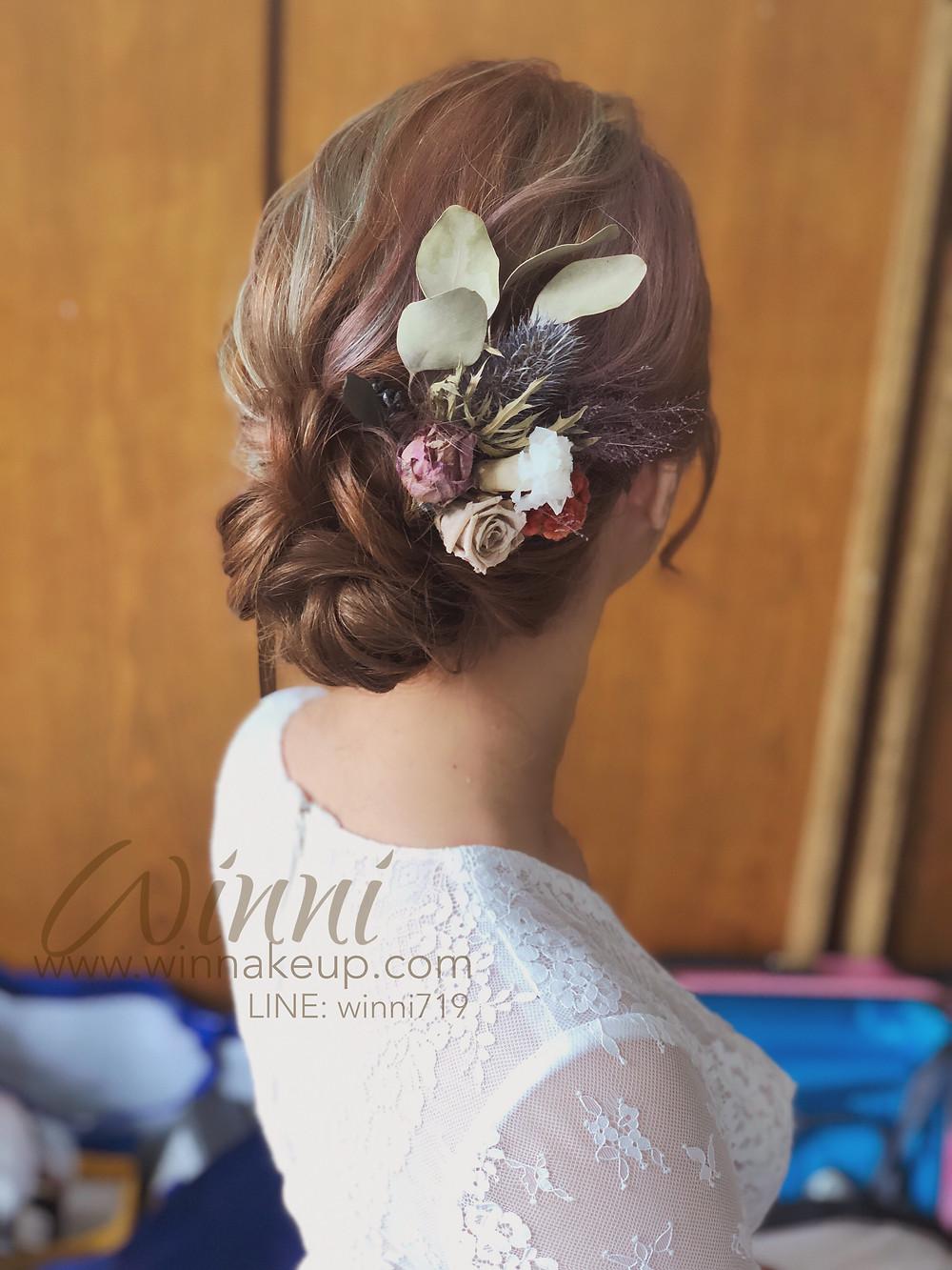 #白紗造型,#新娘造型,#低盤髮造型,#新娘妝 #乾燥花髮飾 #不凋花髮飾