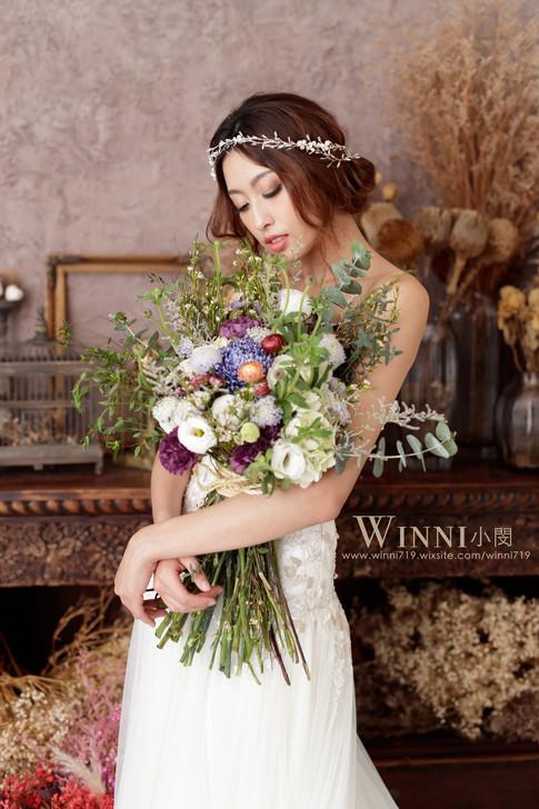單人婚紗/低盤髮造型