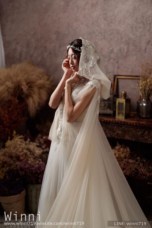 斗篷頭紗造型/白紗造型/鬆感低盤髮/優雅造型