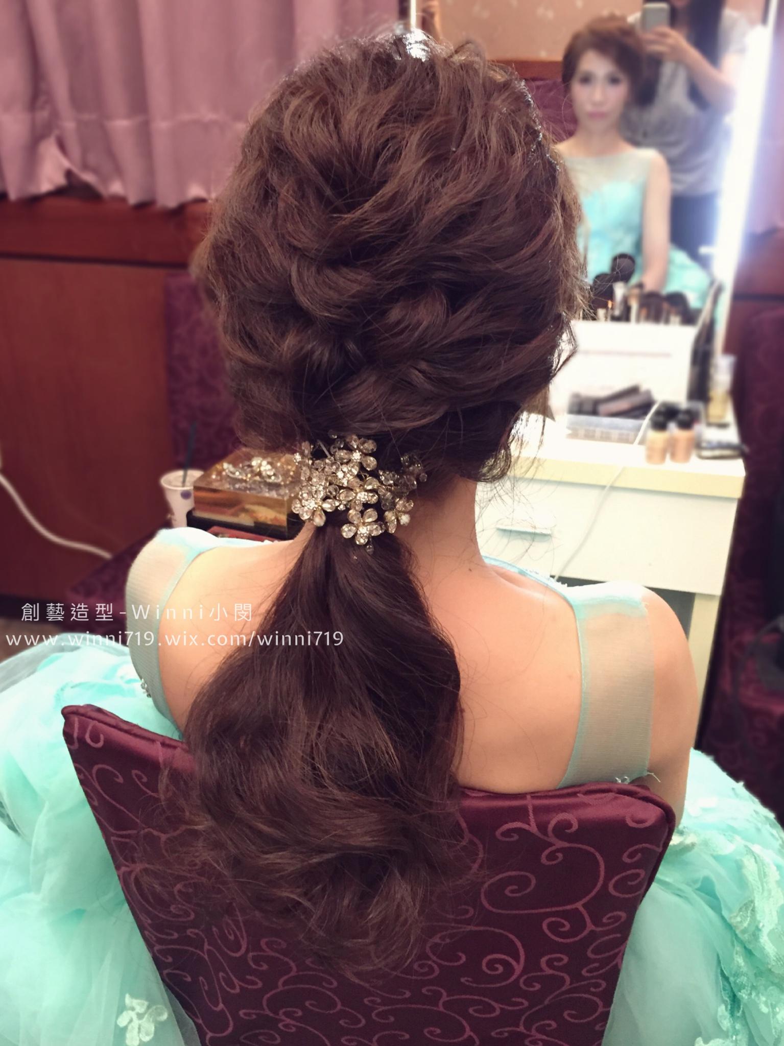 編髮低馬尾-新娘造型