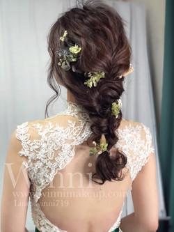 #編髮馬尾新娘造型 #新娘編髮