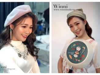 [南紡百貨公司DM造型],華麗波浪捲髮造型搭配深棕桃紅眼妝/居家女孩頭巾圍裙好女孩造型