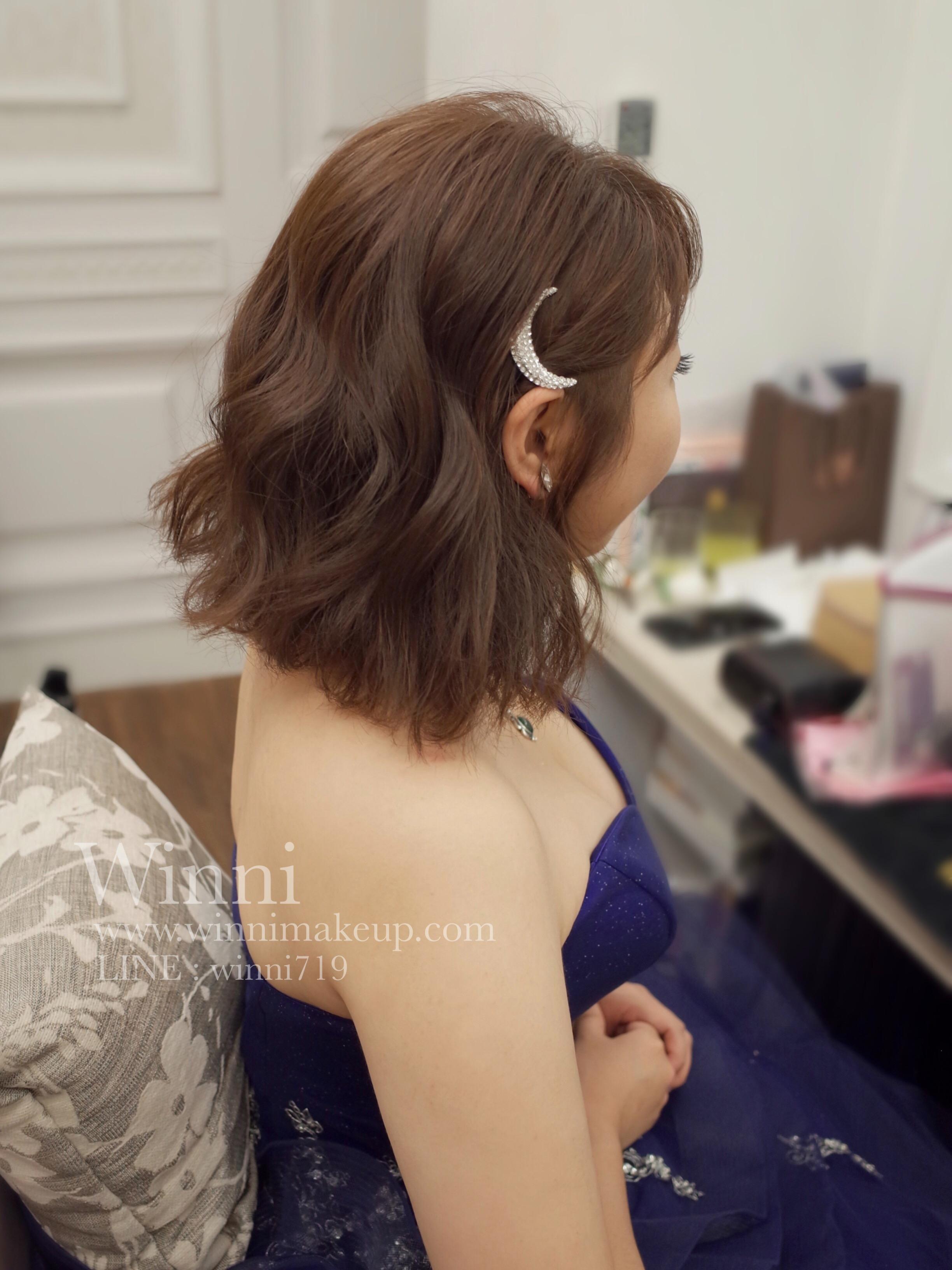 #短髮新娘造型