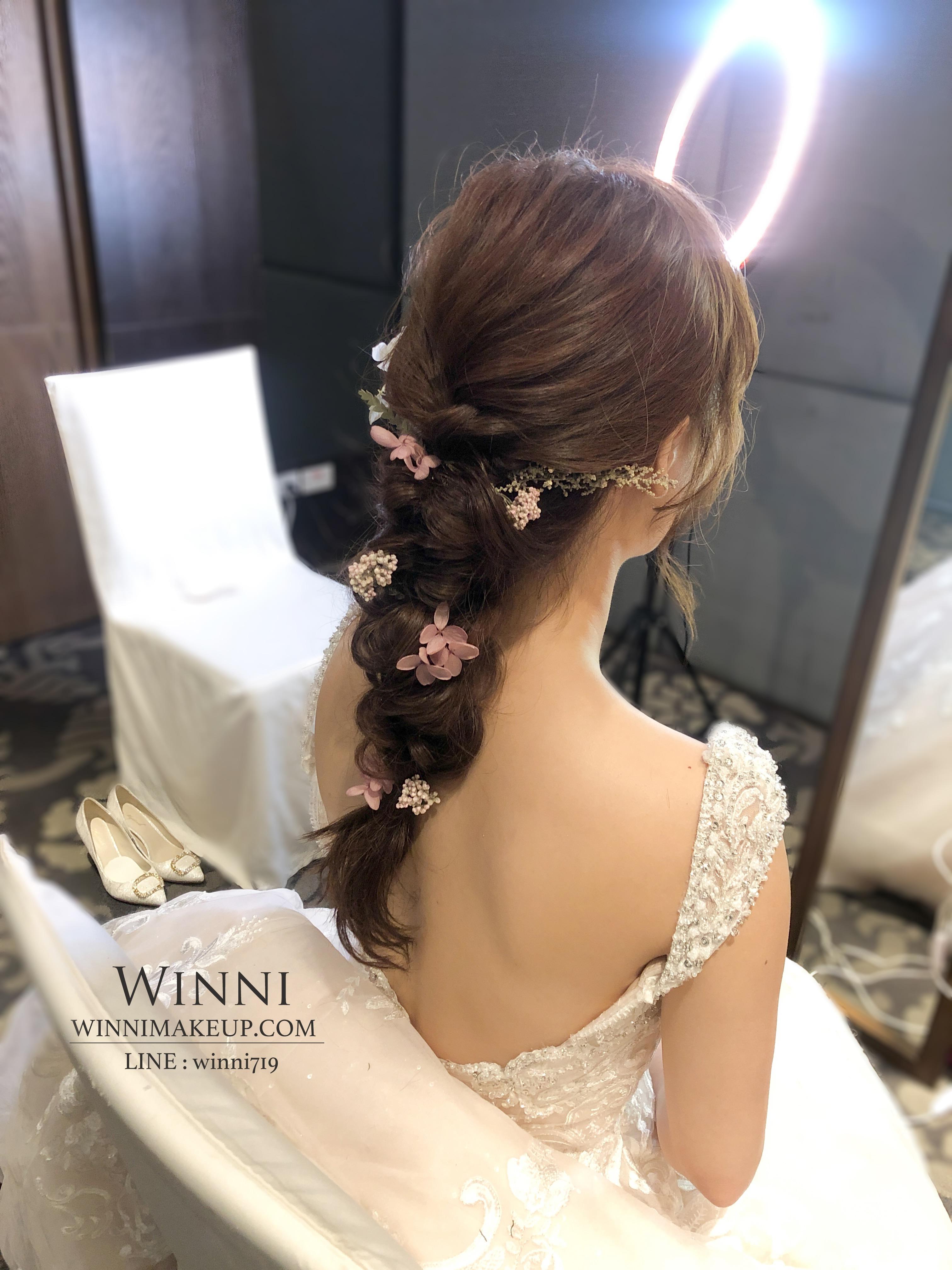 低馬尾造型-編髮造型-乾燥花新娘造型/winnimakeup