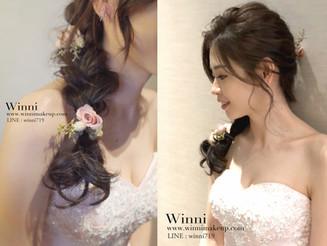 [甜美新娘造型]-浪漫側邊編髮,花系列造型讓妳優雅的像個公主-{高雄新秘winni小閔}|不凋花造型|乾燥花造型