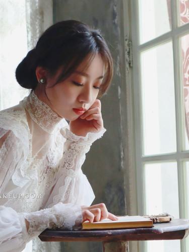 白紗造型 低盤髮造型 自助婚紗