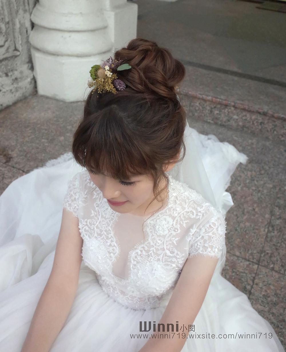 #白紗造型 #新娘造型 #低盤髮造型 #新娘妝 #短髮新娘 #編髮 #長頭紗  #永生花髮飾 #乾燥花髮飾 #韓系妝髮 #高盤髮