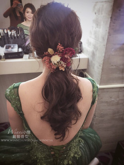乾燥花低馬尾-新娘造型