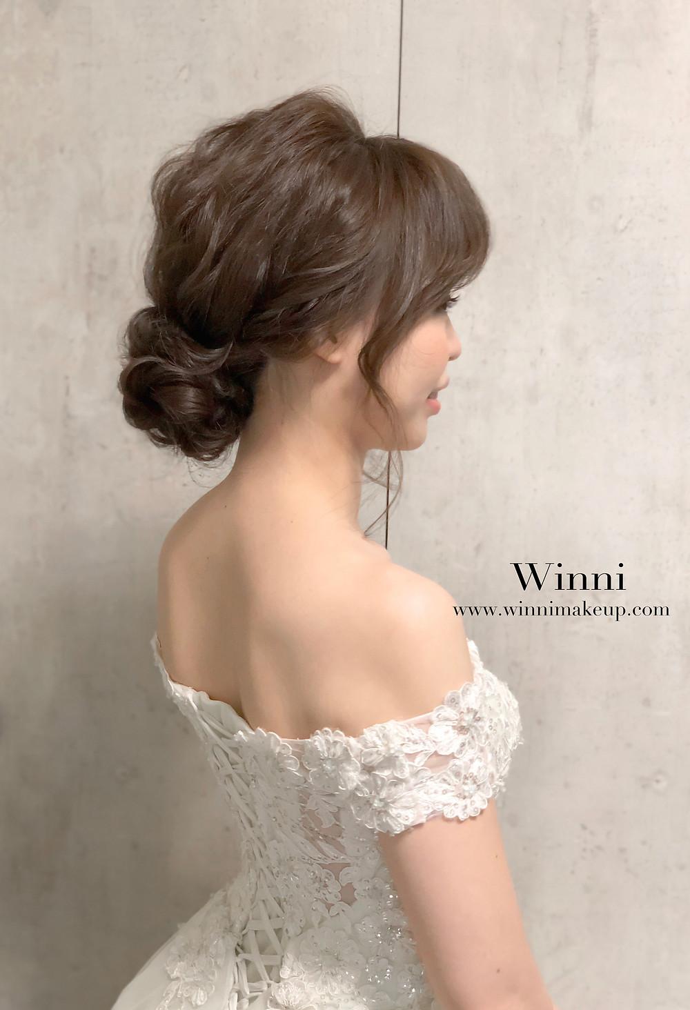 #自然新娘妝 #低盤髮造型 #新娘造型 #不凋花髮飾 #乾燥花
