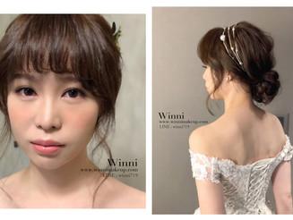 無辜感清透新娘妝/新娘低盤髮造型,不用害怕太成熟,這樣的低盤髮很年輕vs髮飾配件的重要性!