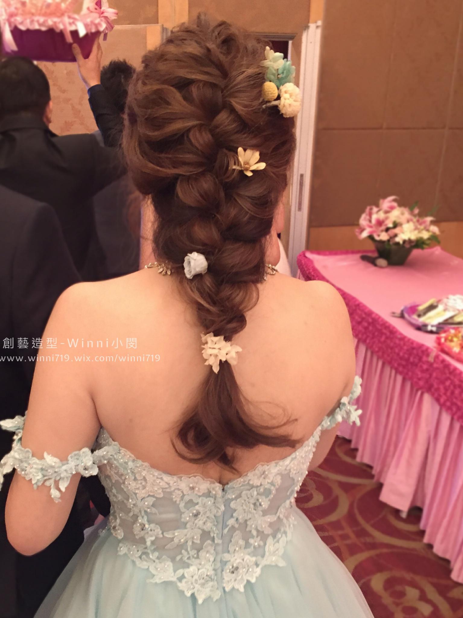 編髮乾燥花馬尾-新娘造型