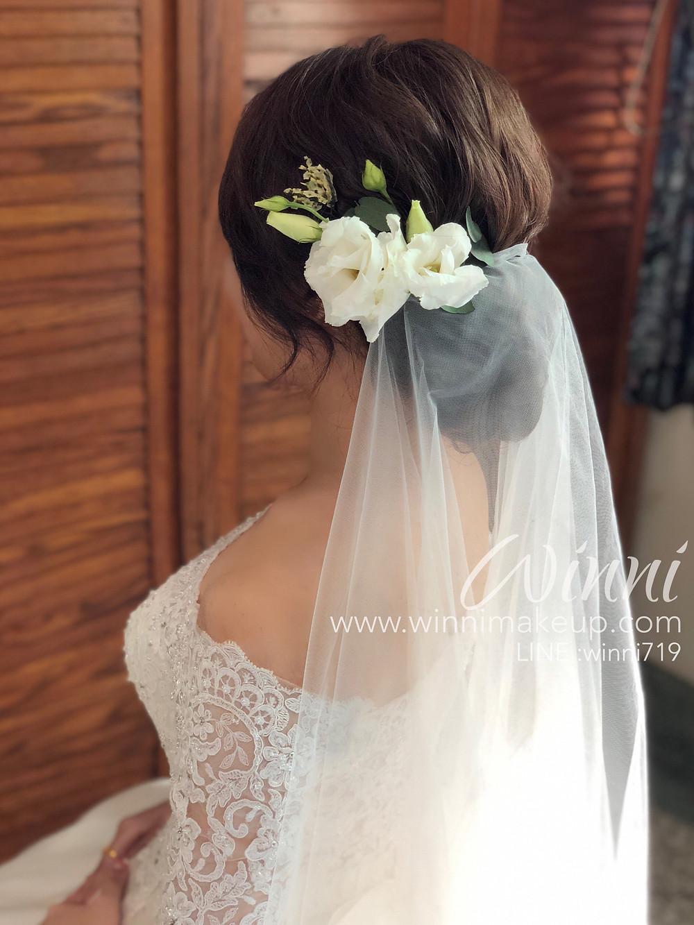 #白紗造型,#新娘造型,#低盤髮造型,#新娘妝 #乾燥花髮飾 #不凋花髮飾 #鮮花髮飾