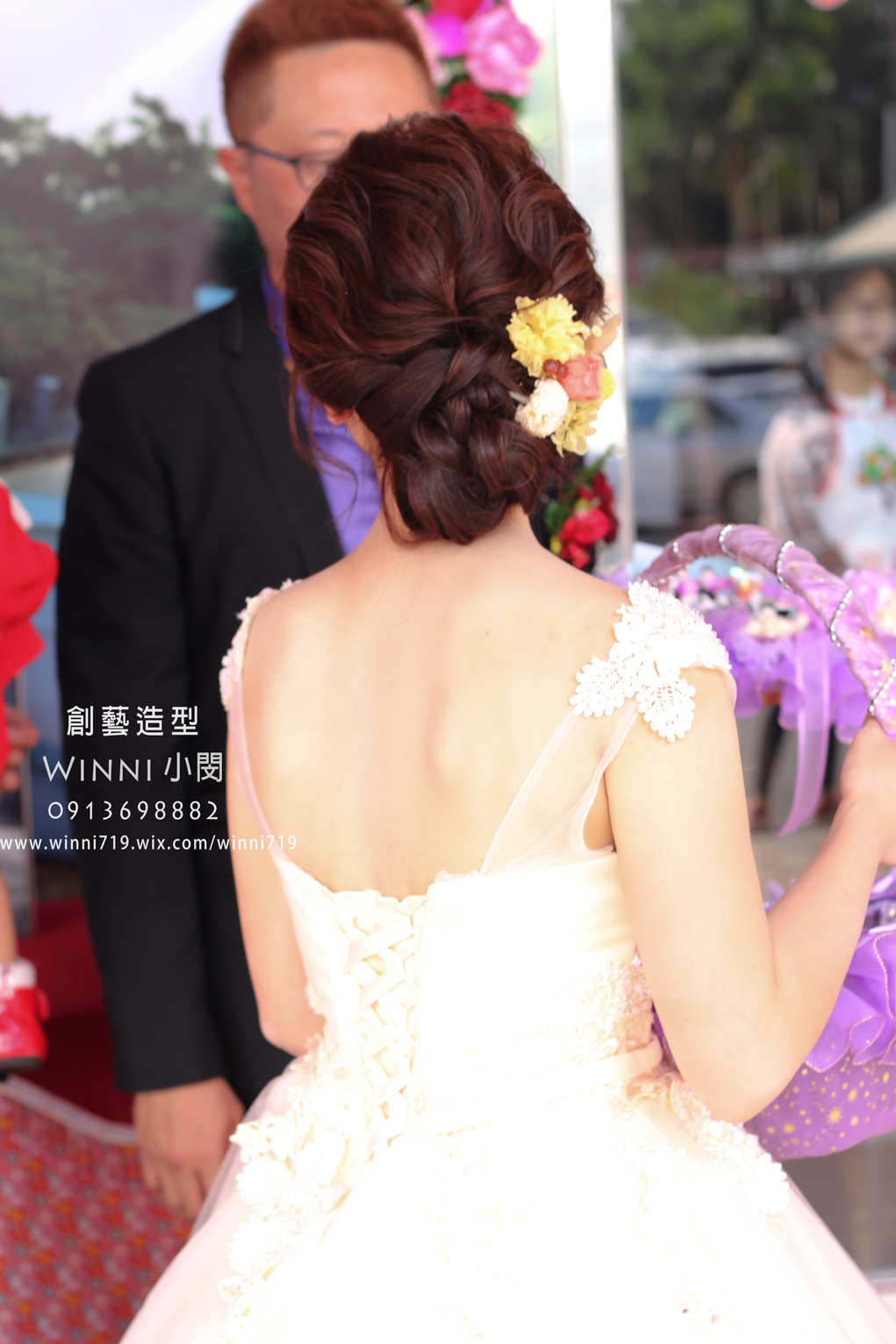 不凋花低盤髮-新娘造型