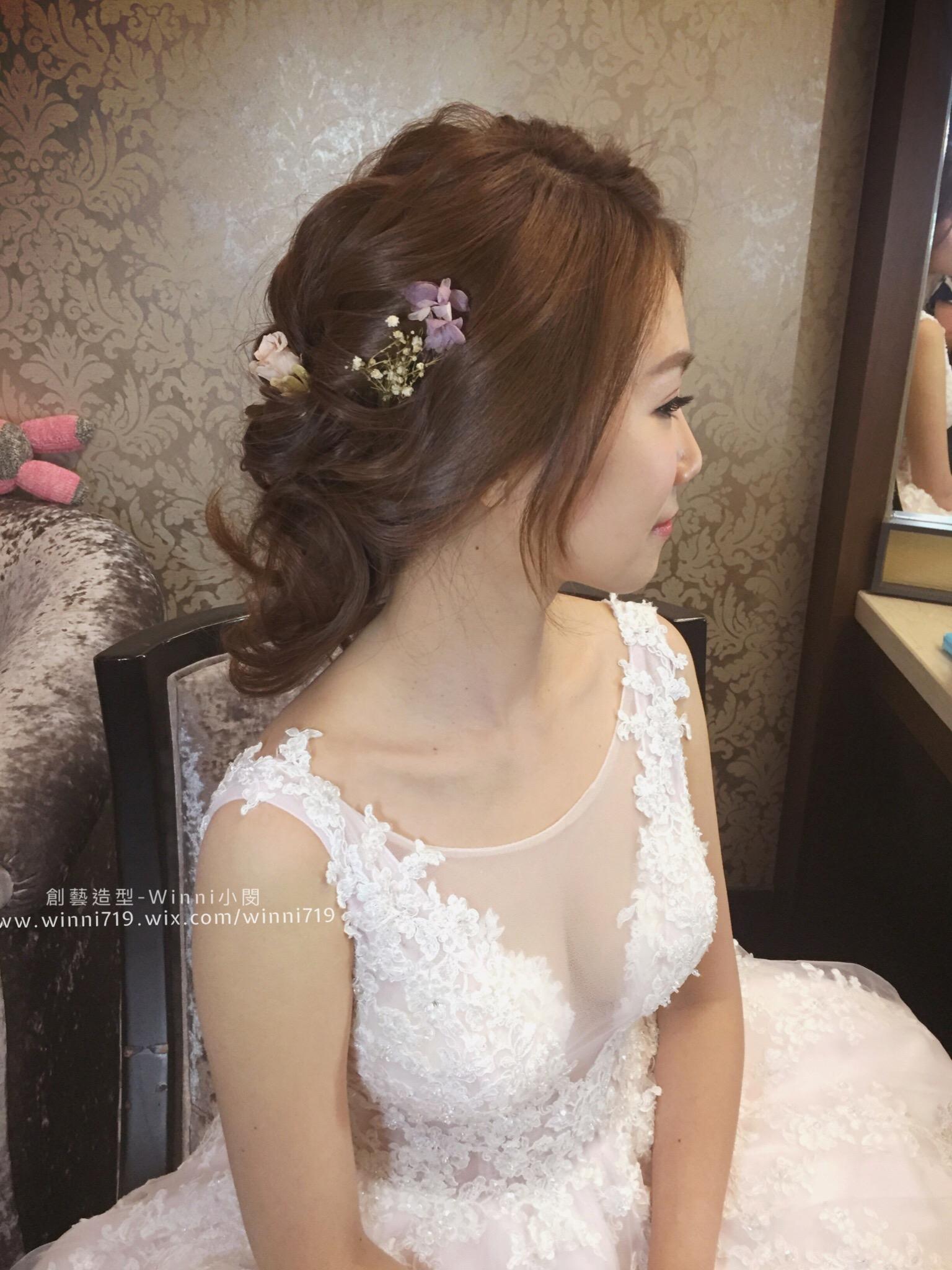 優雅層次低盤髮-新娘造型