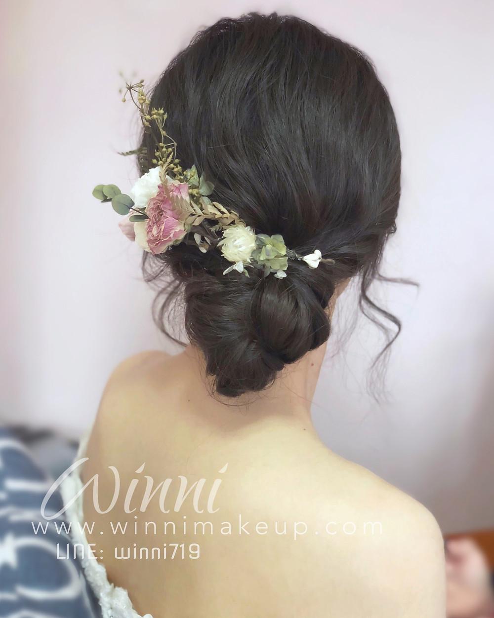 #白紗造型#新娘造型 #低盤髮造型 #新娘妝 #編髮 #永生花髮飾