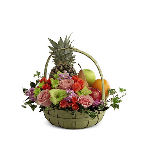 Rest In Peace Fruit & Flowers Basket