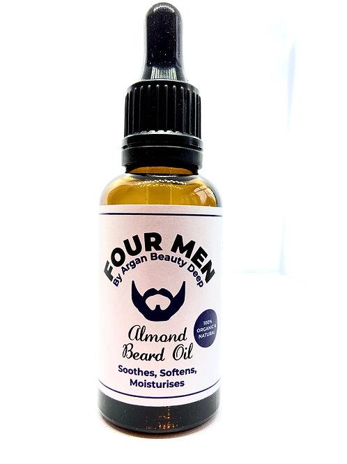 Aceite de barba para hombres / almendras / natural / orgánico / vegano / 30ml