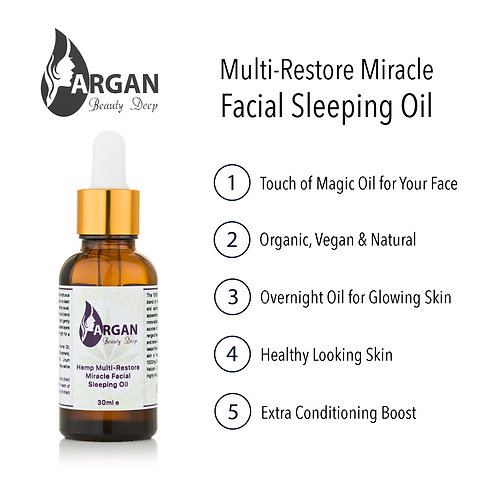 CBD Miracle Facial Sleeping Oil/Organic/Vegan/Wrinkles/Fine Lines/Nourishes Skin