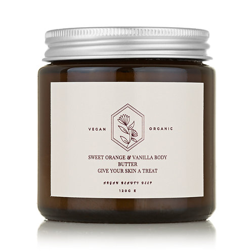 Vanilla & Sweet Orange Body Butter/Vegan/Organic/Smooths into Skin