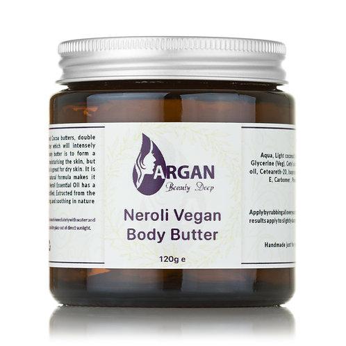 Neroli Vegan Body Butter/Glass Jar/ 100% Organic/Infused with Neroli Oil