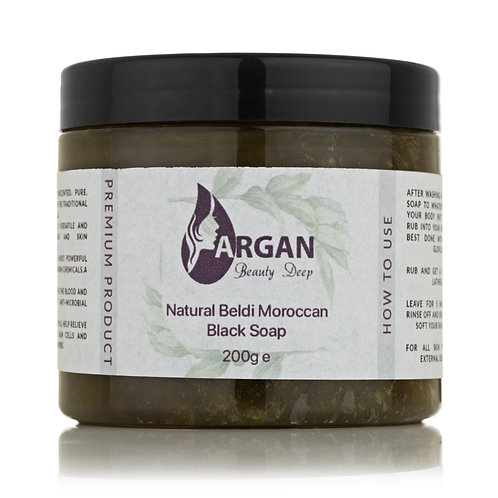Moroccan Exfoliating Black Soap for Hammam - Cleansing Natural Beldi Soap to Exf