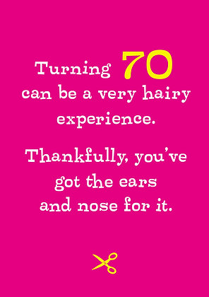 celebration age 70 milestone card about being hairy