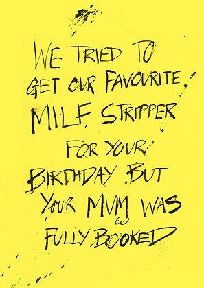 rude card about a MILF stripper