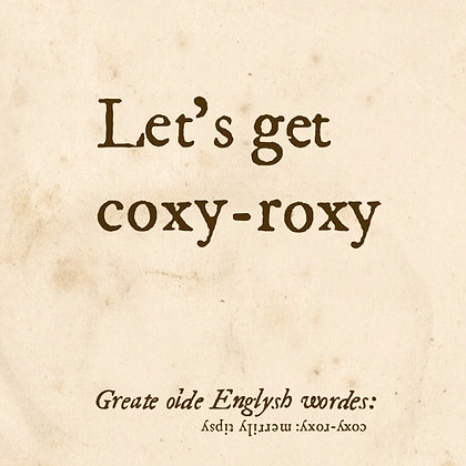 coxy-roxy: great old english word for tipsy or being drunk. Dictionary-style font on plain old paper