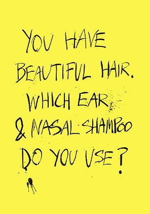 funny card about nasal hair and shampoo
