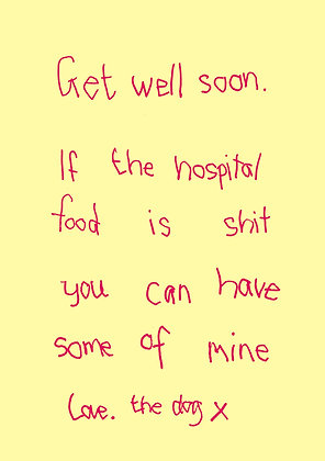 Get well soon card from the dog. Dog offers its dog food to owner. Funny handwritten font on plain background