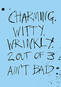 Funny and witty birthday card with pen and ink splodges and blobs