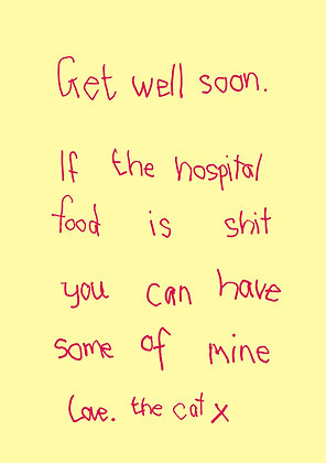 Get well soon card about bad hospital food. Pet cat offers its cat food to owner. Handwritten font on plain yellow back