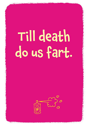 Till death do us part. Rude anniversary card for a happily married couple. Funny quote on red background.