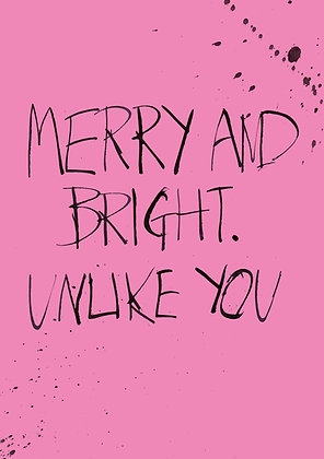 rude merry and bright card