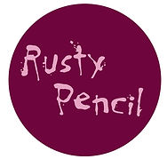 Rusty Pencil cards logo. Pink calligraphy on purple background. Home of cheap birthday cards online.
