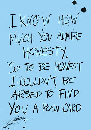 funny and rude greeting card about honesty