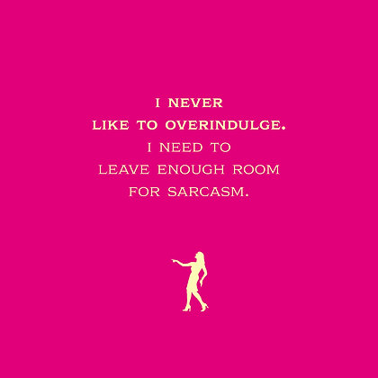 Woman being sarcastic in funny card. Elegant font on red background.