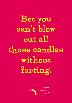 Funny birthday card about farting. Naughty old age card. Yellow font on red background.