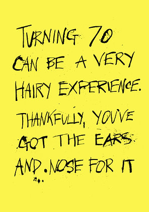 funny 70th birthday card about hair