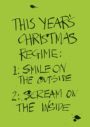 sarcastic christmas smile and scream card