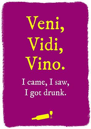 Veni Vidi Vici - old joke about vino. I came, I saw, I got drunk.